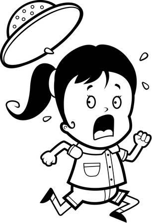 flee: A cartoon child explorer running in a panic.