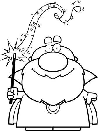 spell: A cartoon illustration of a wizard casting a spell. Illustration