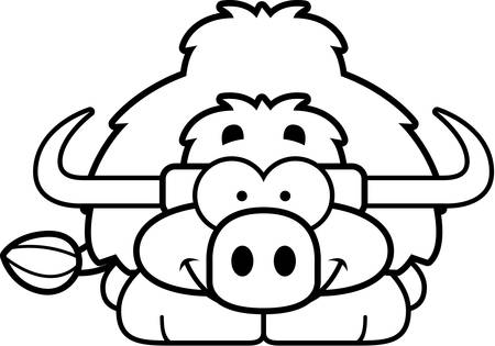 A cartoon illustration of a little yak happy and smiling.