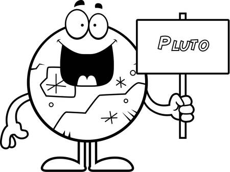 pluto: A cartoon illustration of Pluto holding a sign.