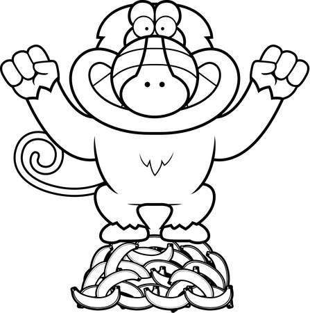 mandril: A cartoon illustration of a baboon on a pile of bananas.