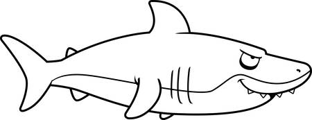 A cartoon shark from the profile view smiling.