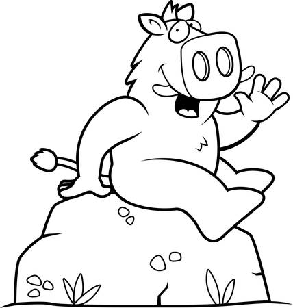 greet: A happy cartoon boar sitting on a rock. Illustration