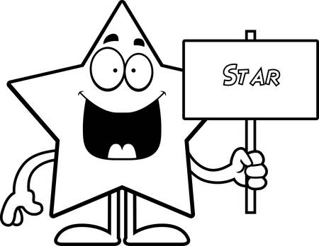 arts system: A cartoon illustration of a star holding a sign.