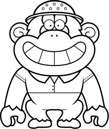 pith: A cartoon illustration of a chimpanzee in a safari outfit and pith. Illustration