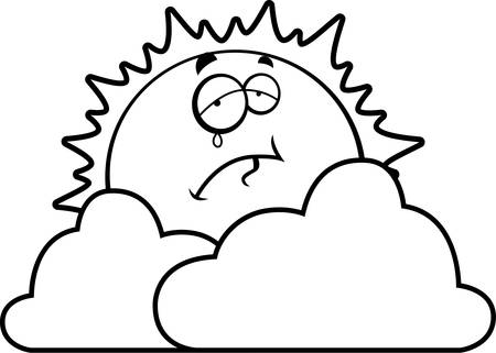 A cartoon sun looking sad behind some clouds.