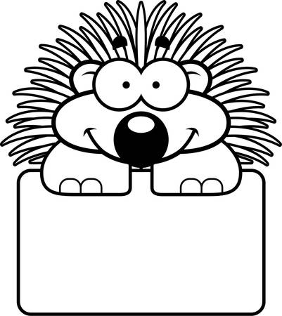porcupine: A cartoon illustration of a little porcupine with a white sign.