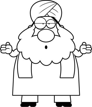 sikh: A cartoon illustration of a Sikh looking confused. Illustration