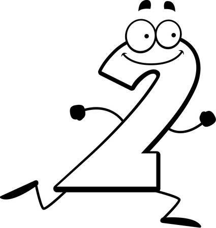 numbers clipart: A cartoon illustration of a number two running and smiling. Illustration