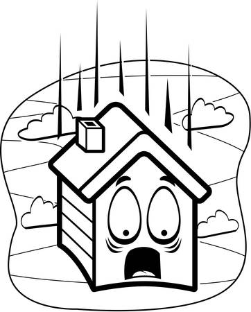 A cartoon house falling and scared.
