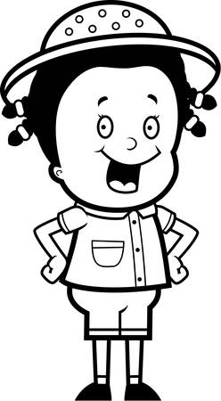 adventurer: A happy cartoon safari girl standing and smiling. Illustration
