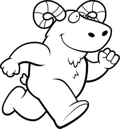 A happy cartoon ram running and smiling.