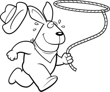 rancher: A happy cartoon rodeo rabbit running with a lasso.