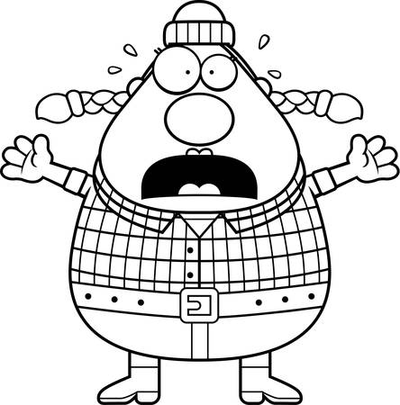 logger: A cartoon illustration of a woman lumberjack looking scared.