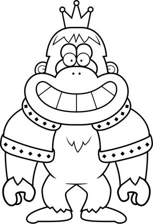 A cartoon illustration of a bigfoot king with a crown and robes.