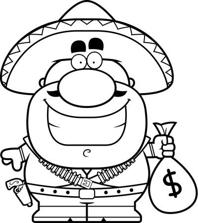 A cartoon illustration of a bandito with a moneybag.