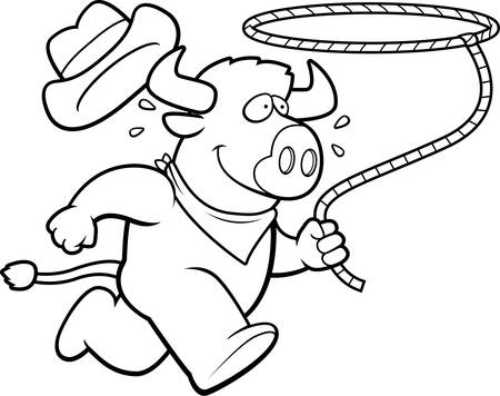 rancher: A happy cartoon rodeo buffalo running with a lasso. Illustration