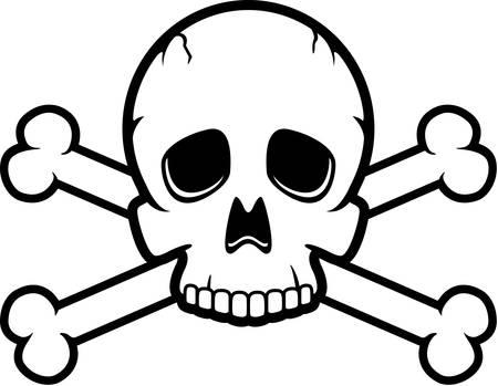 A cartoon skull and crossbones illustration. Illusztráció