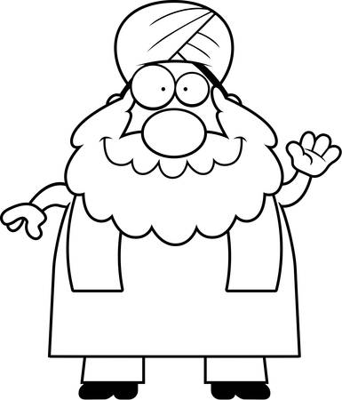 sikh: A cartoon illustration of a Sikh waving.