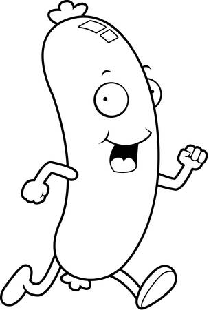 A happy cartoon sausage running and smiling. Illustration