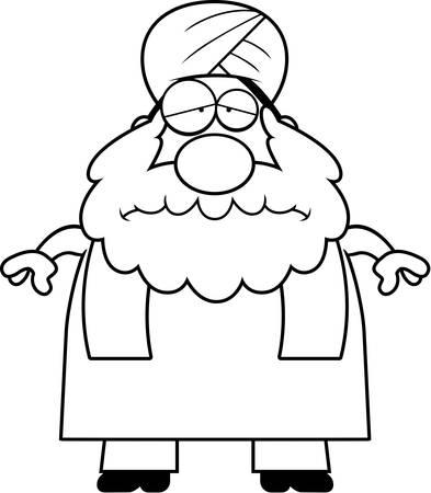 sikh: A cartoon illustration of a Sikh looking sad. Illustration