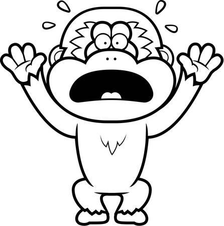 panicking: A cartoon illustration of a gibbon panicking.