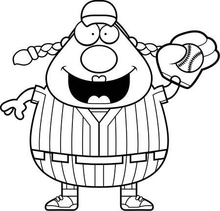 softball player: A cartoon illustration of a softball player catching a ball.