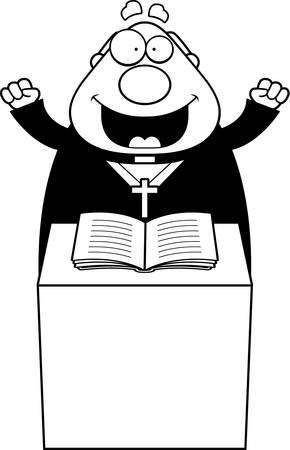 sermon: A cartoon illustration of a priest giving a sermon.