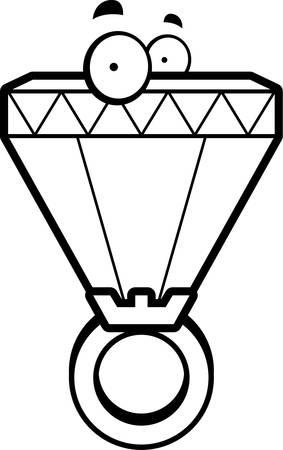 A cartoon big diamond ring with eyes.