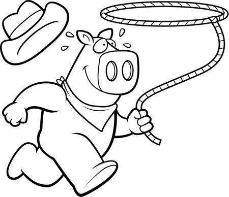 A happy cartoon rodeo pig running with a lasso.