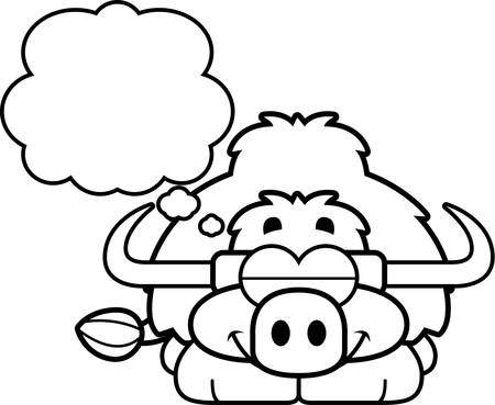 A cartoon illustration of a little yak dreaming.
