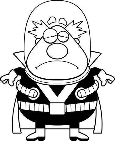 villain: A cartoon illustration of a supervillain looking sad.