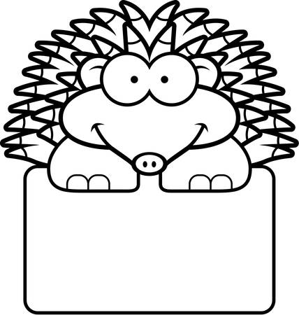 A cartoon illustration of a little hedgehog with a white sign. Иллюстрация