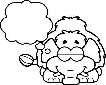 woolly: A cartoon illustration of a little mammoth dreaming.