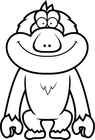 macaque: A cartoon illustration of a Japanese macaque smiling. Illustration