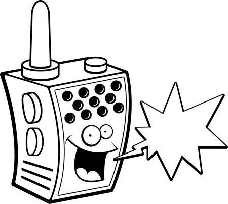 A happy cartoon walkie-talkie talking and smiling.