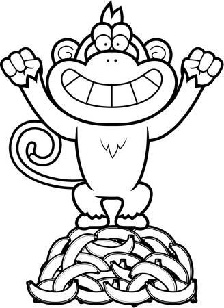A cartoon illustration of a monkey on a pile of bananas. Illustration