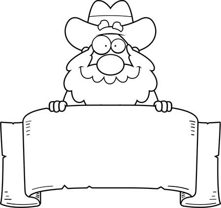 old timer: A cartoon illustration of a prospector with a banner sign.