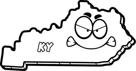 outraged: A cartoon illustration of the state of Kentucky looking angry. Illustration