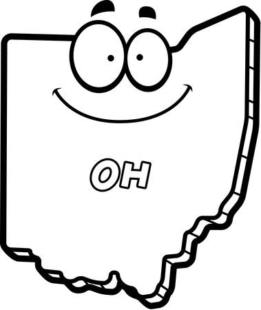 A cartoon illustration of the state of Ohio smiling.