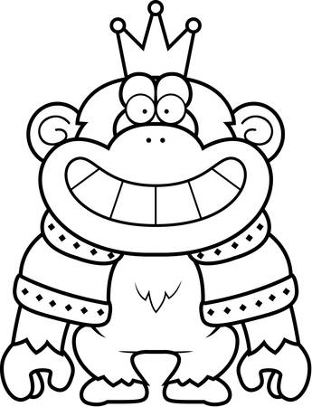 A cartoon illustration of a chimpanzee king with a crown and robes.