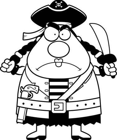 pirata mujer: Una mujer pirata de la historieta con una expresión enojada.