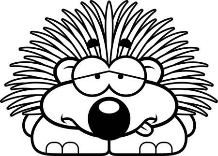 nauseous: A cartoon illustration of a little porcupine looking sick. Illustration