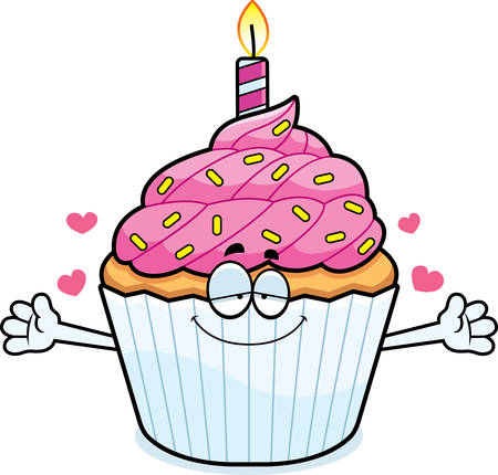 patty cake: A cartoon illustration of a birthday cupcake ready to give a hug.