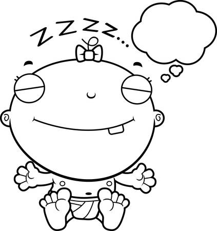 though: A cartoon illustration of a baby girl dreaming.