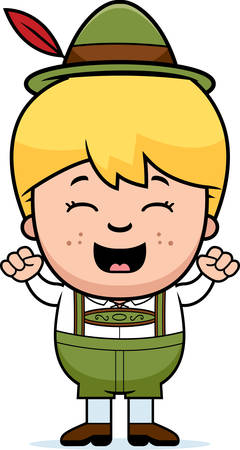 lederhosen: A cartoon illustration of a German boy in lederhosen celebrating.