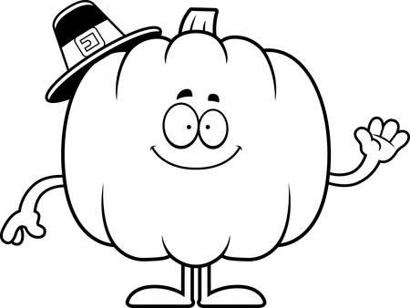 pilgrim: A cartoon illustration of a pumpkin pilgrim waving.