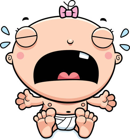 crying child: A cartoon illustration of a baby girl crying. Illustration