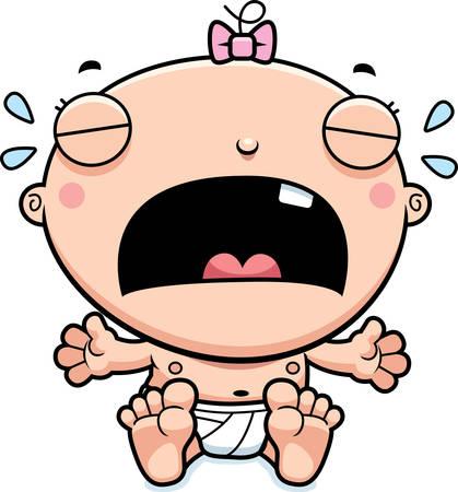 child crying: Una ilustración de dibujos animados de una niña llorando.