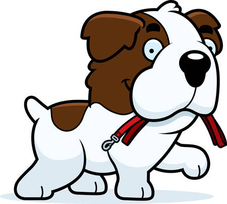 saint bernard: A cartoon illustration of a Saint Bernard walking with a leash in his mouth. Illustration